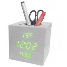 часы (деревянные) дата температура подставка VST-878S/4 (ярко-зеленый) 1 сорт