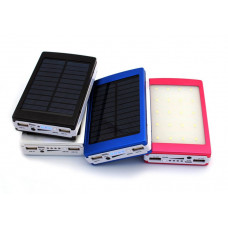 зарядка портативная Power Bank+2USB+солнечная батарея+2 фонарика EK-1 25000 mAh