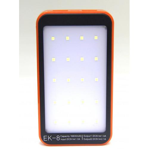 зарядка портативная Power Bank 2USB солнечная батарея фонарик EK-8 16800 mAh