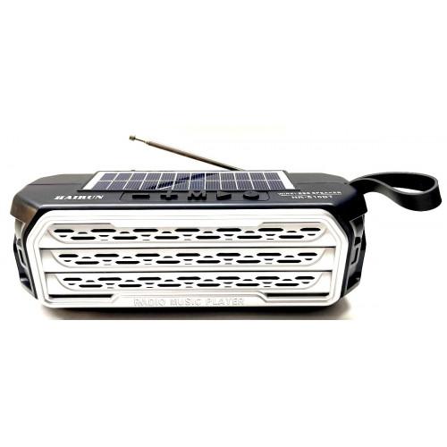 колонка HAIRUN+Bluetooth+USB+SD+радио+фонарик+аккумулятор 18650+солнечная зарядка HR-S10BT
