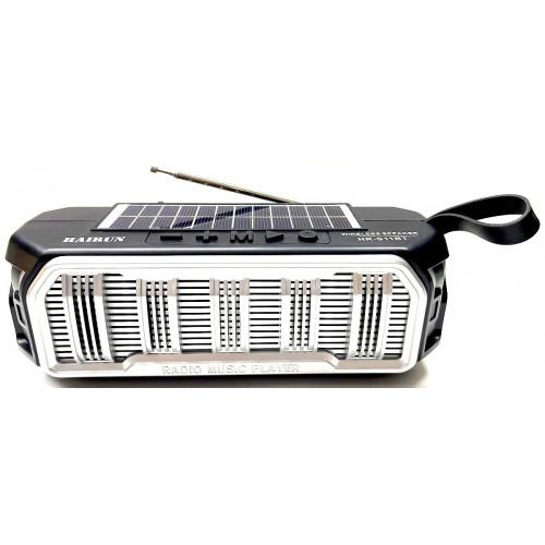 колонка HAIRUN+Bluetooth+USB+SD+радио+фонарик+аккумулятор 18650+солнечная зарядка HR-S11BT