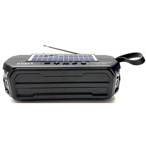 колонка HAIRUN+Bluetooth+USB+SD+радио+фонарик+аккумулятор 18650+солнечная зарядка HR-S6BT