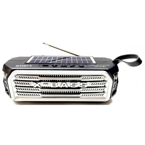 колонка HAIRUN+Bluetooth+USB+SD+радио+фонарик+аккумулятор 18650+солнечная зарядка HR-S7BT