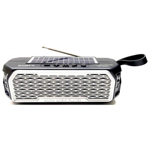 колонка HAIRUN+Bluetooth+USB+SD+радио+фонарик+аккумулятор 18650+солнечная зарядка HR-S9BT