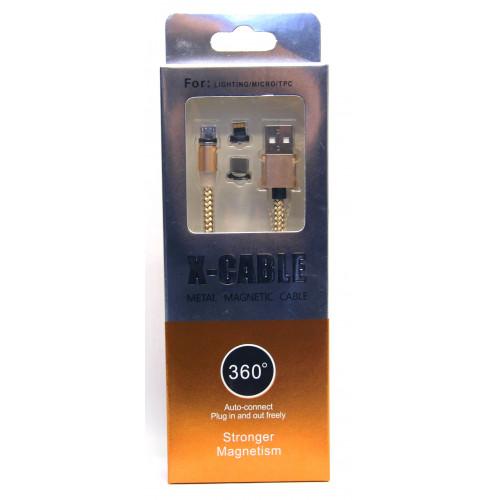 кабель магнит 3в1 iphone+Micro+Type-C
