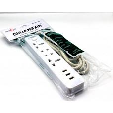 сетевой фильтр на 4 розеток и 3 USB входа на 2.1A T01