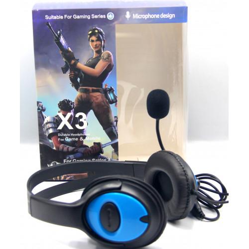 игровые наушники проводные+микрофон X3