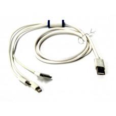 кабель 3в1 с фильтром iphone 4+5+6+Micro