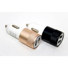авто зарядка 2 USB, 1A 2,1A (A13) (металлический)