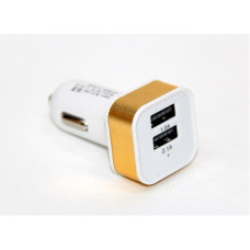 авто зарядка 2 USB, 1A+2,1A (A8) (металлический,квадратный)
