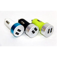 авто зарядка 2 USB, 1A 2,1A (A8) (металлический,матовый)