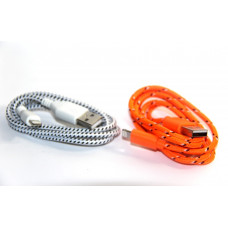 кабель для iphone 5 6 (тряпочный) деш