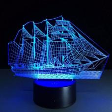 3D ночник Корабль  (3 режима, MO-1648)