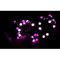 гирлянда черная (шарики, розовые) 100 лампа LED-8031
