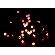 гирлянда черная (шарики, красные) 100 лампа LED-8034