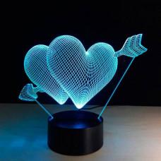 3D ночник Сердце со стрелой  (3 режима, MO-1640)
