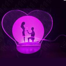 3D ночник Влюбленные  (3 режима, МО-806)