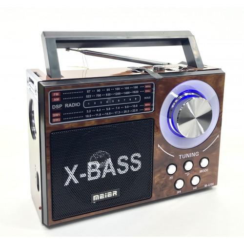 радиоприемник Meier USB SD фонарик аккумулятор M-U08