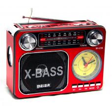 радиоприемник Meier+USB+SD+фонарик+часы+аккумулятор M-U36