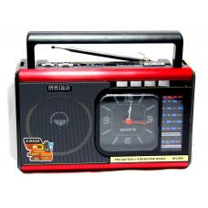 радиоприемник Meier+USB+SD+фонарик+часы+аккумулятор M-U40