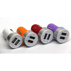 авто зарядка 2 USB, 1A 2,1A матовая (A8)