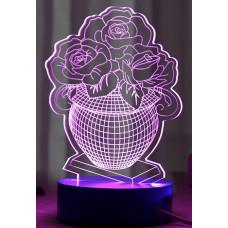 3D ночник Ваза с цветами  (3 режима, MO-1644)