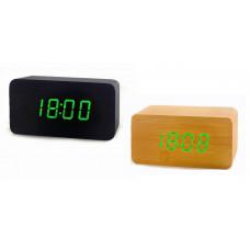 часы (деревянные) дата температура VST-863/4 (ярко-зеленый)