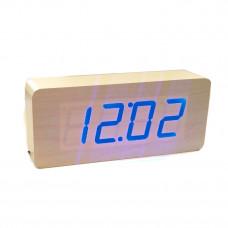 часы (деревянные) дата температура VST-865/5 (ярко-синий)