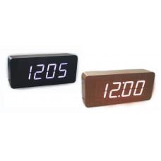 часы (деревянные) дата температура VST-865/6 (белый)