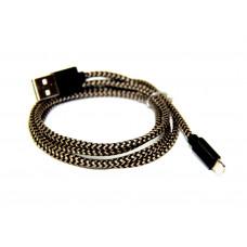 кабель для iphone 5 6 (тряпочный, металлический)